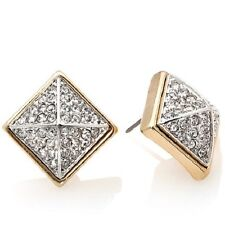 "R.J. GRAZIANO ""TAKE A SPIKE"" PAVE 2-TONE PYRAMID STUD PIERCED EARRINGS HSN"