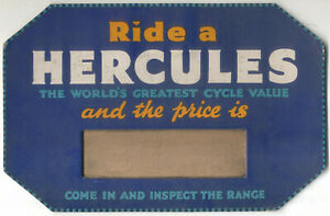 HERCULES Bicycle Sign original blue octagonal advertising card with price slot