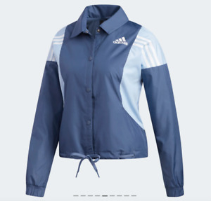 Adidas Training Jacket Womens Medium Tech Ink Blue 3 Stripes Coaches Long Sleeve