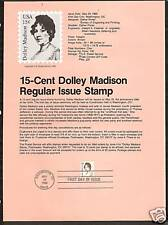 #1822 Dolley Madison 15-Cent First Lady 1980 Souvenir Page