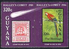 Guyana 1986 espacio/Halley's Comet/Loro/Aves/Naturaleza/Astronomía 2v pr (b8504)