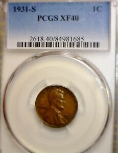 1931s PCGS XF 40 Lincoln Cent Coin NICE ORIGINAL EXTRA FINE KEY DATE PENNY  NR