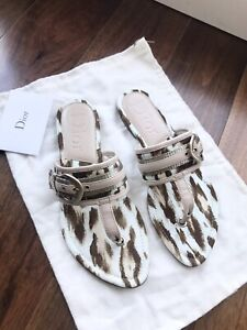 Auth New Christian Dior DIOR Canvas Thong Sandal Sz 37.5