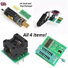 CH341A 24 25 USB Programmer + 1.8V adapter + SOIC8 to DIP8 socket + SOIC8 Clip