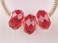 10pcs 15mm Lampwork Glass Faceted European Charm Loose Big Hole Beads Deep Red