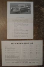 BOND MINICAR MARK E orig 1958 UK Mkt Specification Leaflet Brochure + Price List