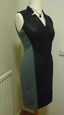 MUSE Waxed Wet Look Bodycon Paneled Black & Grey Dress V/Neck Sleeveless UK 10