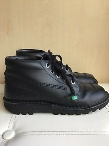 Kickers Boots Size Uk 7 Black Leather Men's Kick Hi Lace Up Ankle Boots EU 41