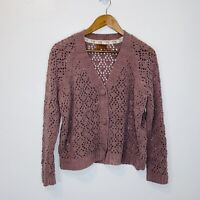 POL brown Soft Knit Button Cardigan Sweater S