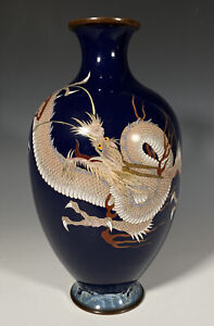 Very Fine Antique Japanese Silver Wire Cloisonne Dragon Vase With Waves Meiji