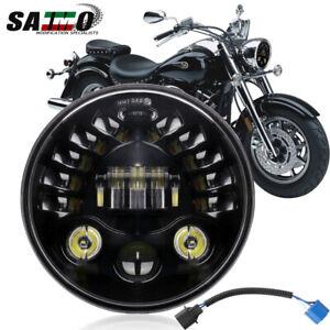 """7"""" Inch LED Headlight Projector For Yamaha Road V Star Silverado XV1700 XV1600"""