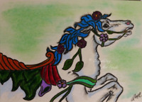 ACEO Carousel Horse Wild Mustang   Original Artwork Art Card Signed Artist Gift