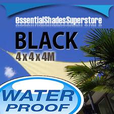 WATERPROOF TRIANGLE BLACK 4x4x4m SUN SHADE SAIL 4x4x4 4 x 4 x 4m
