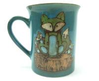 Pfaltzgraff Everyday Fox Family Coffee Mug Cup Teal Green Fox and Kits