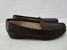 SAS TRIPAD COMFORT WOMENS BURGANDY LEATHER SLIP ON MOC LOAFERS SHOES US SZ 8 S