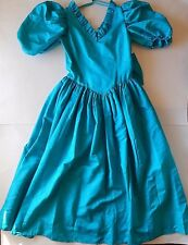 Vintage 80s Teal Puffy Sleeve Prom Dress Taffeta Bow Long Size M