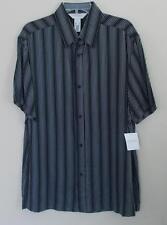 Concepts by Claiborne Black & White Stripe Rayon Shirt Short Sleeve Mens L NWT