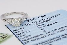 0.78 ct Platinum Round Brilliant Cut Diamond Engagement Ring EGL-USA Rtl $3,565