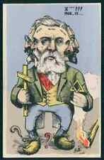 uu art MILLE France political humor caricature original old c1910s postcard