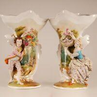 """a pair 16"""" French Victorian Old Paris Porcelain Vases Jacob Petit Locre Halley"""