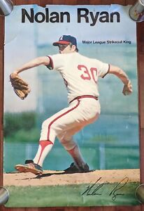 Vintage Large Nolan Ryan Major League Strikeout King Poster 1974 Angels *RARE*