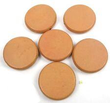 5 Wood Flat Round Disc Beads 34mm - Gamboge / light brown