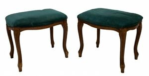 Antique Stools, Foot, Green  Upholstered, Louis XV Style, Charming Pair!!