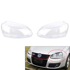 Pair Front Headlight Lens Plastic Cover For VW MK5 Rabbit Jetta GTI 06-09 R32 08