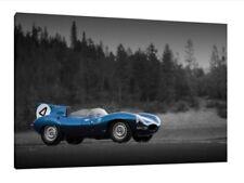 Jaguar D-Type - 30x20 Inch Canvas - Framed Picture Print Wall Art Classic Car