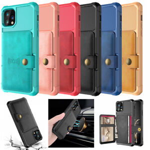 """NEW Car Magnetic Wallet Cards Slot Pocket Leather Rugged Case for iPhone 11 6.1"""""""