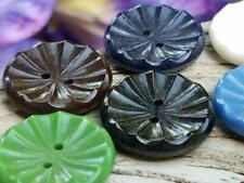 Vintage 1940's Ruffled Sew Thru Glass Buttons West German Dark Colors