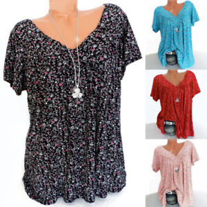 Womens Short Sleeve Long Top Pullover Ladies V Neck Tee Shirts Blouses Casual ca