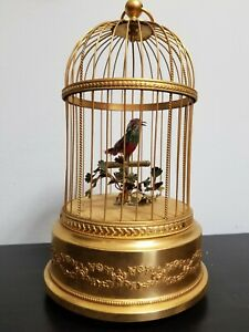ANTIQUE BONTEMS MECHANICAL SINGING BIRD CAGE, FRANCE- CA. 1900- SEE VIDEO
