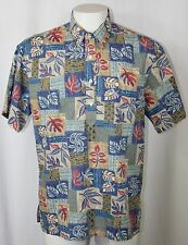 Vintage Nui Nalu Polo Style Hawaiian Shirt Brown Blue Red Tropical Foliage Men L