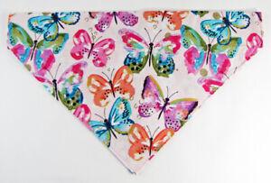 Butterflies Dog Bandana, Over the Collar dog bandana, Dog collar bandana, puppy