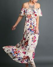 Small Maxi Dress AVALON LACE Ruffle Cold Off Shoulder Free Flowing Gypsy People