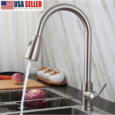 Brushed Nickel Stainless Kitchen Sink Faucet Pull Out Bar Single Hole Mixer Tap