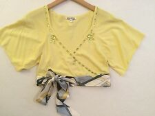 Peppe Peluso wmn's sz S yellow SS wraparound cropped top bling sash club NWOT