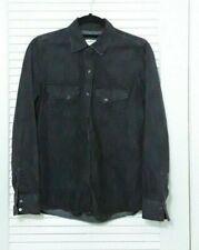 Zara Woman Denim Jeans Western Snap Buttons Long Sleeve Shirt Top Black Sz Small