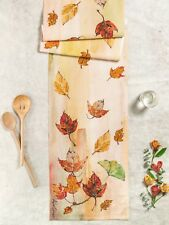 April Cornell Table Runner Autumn Leaves Collection NWT 100% Cotton Multi Color