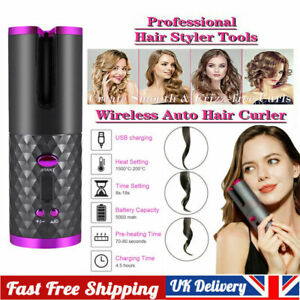 Cordless Automatic Hair Curler LCD Auto Rotating Ceramic Hair Waver Curling Iron