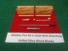3 Fancy Slimline Pen Kits In Gold With Matched Drilled Olivewood Blanks