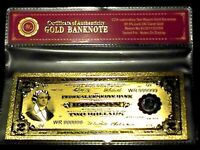 99.9% 24K GOLD 1918 $2 BILL US BANKNOTE IN PROTECTIVE SLEEVE W COA FREE SHIPPING