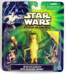 STAR WARS Power of the Jedi ~ 2001 Amanaman w/ Salacious Crumb Action Figure