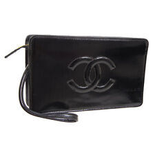 CHANEL Quilted CC Clutch Hand Bag Black Patent Leather Vintage JT08645c
