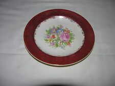 Salem China Maroon Band - 23K Gold Filigree - Floral Center - Bread Plate