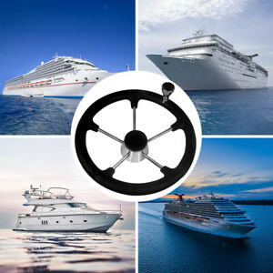 5-spoke stainless steel boat steering wheel with button 13-1 / 2 boat