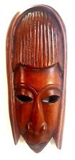 """Wall Hanging Hand Carved Wood Mask From Kenya 15.5"""" Tall"""
