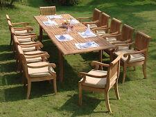 "Giva Grade-A Teak 13 pc Dining 117"" Rectangle Table Arm Chair Set Outdoor Garden"