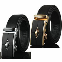 Fashion Men's Genuine Leather Automatic Buckle Belts Waist Strap Belt Waistband